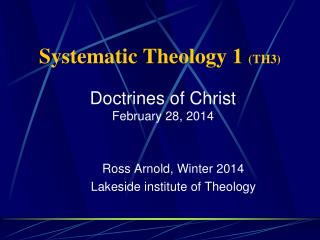 Systematic Theology 1  (TH3)
