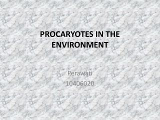 PROCARYOTES IN THE ENVIRONMENT