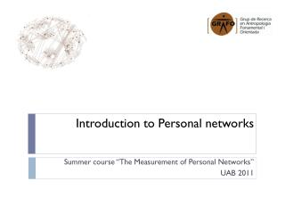 Introduction to  Personal  networks