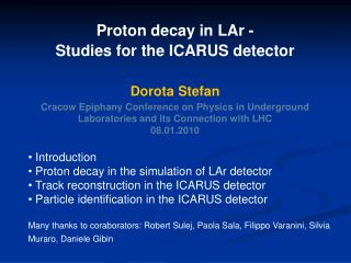 Introduction  Proton decay in the simulation of LAr detector