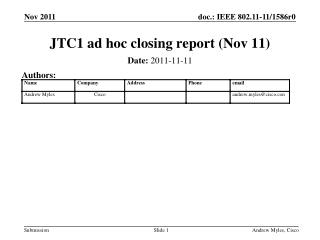 JTC1 ad hoc closing report (Nov 11)