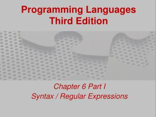 Programming Languages Third Edition
