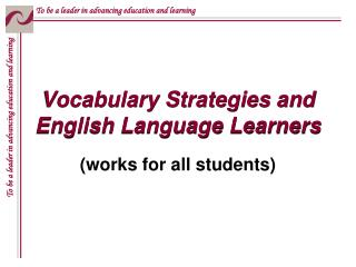 Vocabulary Strategies and English Language Learners