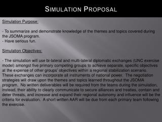 Simulation Proposal