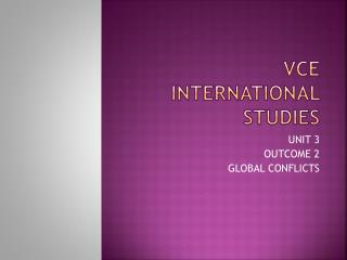 VCE INTERNATIONAL STUDIES