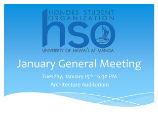 January General Meeting