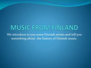 MUSIC FROM FINLAND