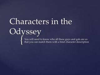 Characters in the Odyssey