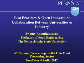 Best Practices & Open Innovation: Collaboration  Between  U niversities  &  Industry