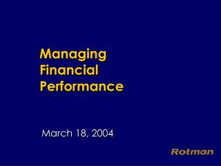 Managing Financial Performance
