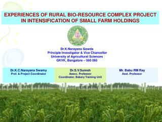EXPERIENCES OF RURAL BIO-RESOURCE COMPLEX PROJECT IN INTENSIFICATION OF SMALL FARM HOLDINGS
