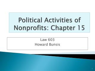 Political Activities of  Nonprofits: Chapter 15