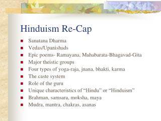 Hinduism Re-Cap