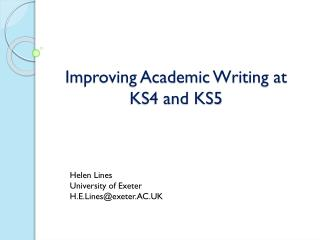 Improving Academic Writing at KS4 and KS5