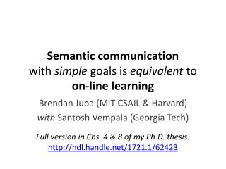 Semantic communication  with  simple  goals is  equivalent  to  on-line learning