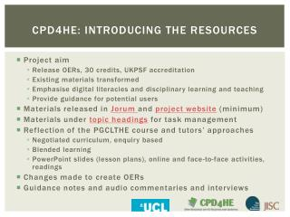 CPD4HE:  introducing the resources