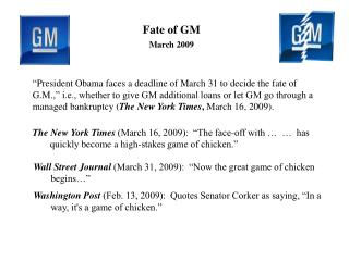 Fate of GM March 2009