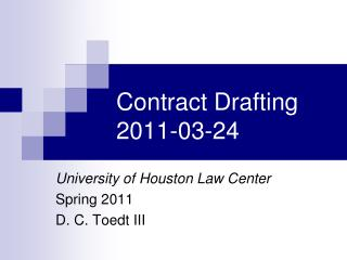 Contract Drafting 2011-03-24