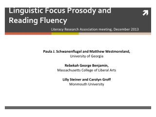 Linguistic Focus Prosody and Reading Fluency