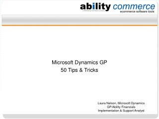 Microsoft Dynamics GP 50 Tips & Tricks