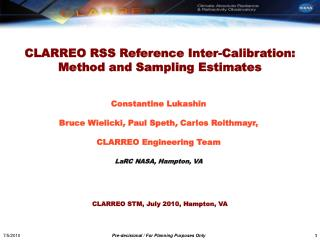 CLARREO  RSS  Reference Inter-Calibration:  Method and Sampling  Estimates