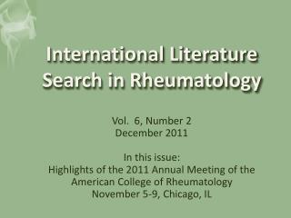 International Literature Search in Rheumatology