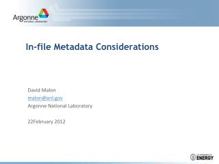 In-file Metadata Considerations