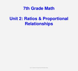 7th Grade Math Unit 2: Ratios & Proportional Relationships