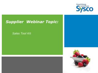 Supplier  Webinar Topic: