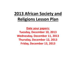 2013 African Society and Religions Lesson Plan