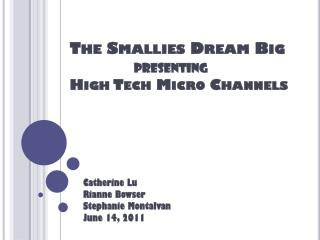 The  Smallies  Dream Big presenting High Tech Micro Channels