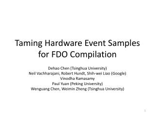 Taming Hardware Event Samples for FDO Compilation