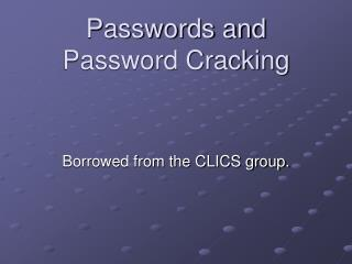Passwords and Password Cracking
