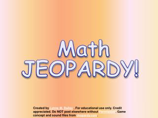 Math JEOPARDY!