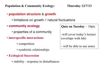 Population & Community Ecology: