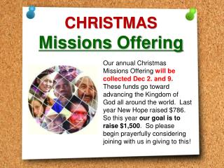 CHRISTMAS Missions  Offering