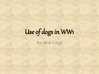 Use of dogs in WW1