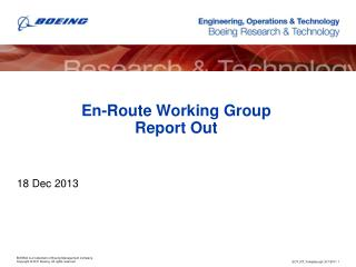 En-Route Working Group Report Out
