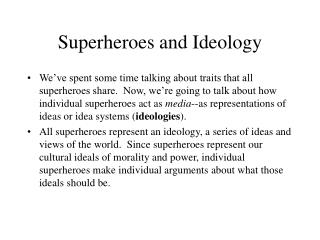 Superheroes and Ideology