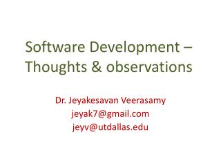Software Development – Thoughts & observations