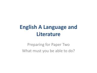 English A Language and Literature