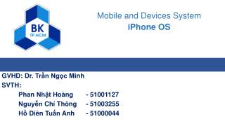 Mobile and Devices System iPhone OS