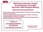 NDIA Rocky Mountain Chapter Small Business Committee December ...
