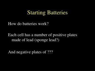 Starting Batteries