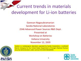 Current trends in materials development for Li-ion batteries