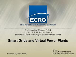 Smart Grids and Virtual Power Plants