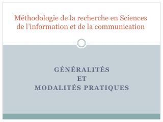 Méthodologie de la recherche en Sciences de l'information et de la communication