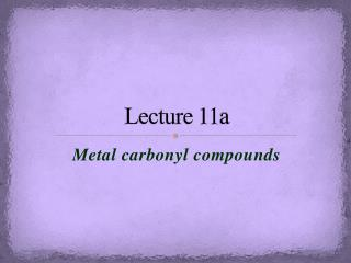 Lecture 11a