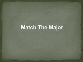 Match The Major