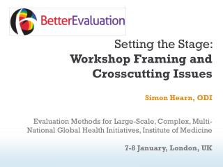 Setting the Stage:  Workshop Framing and Crosscutting Issues